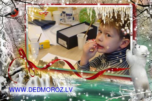 Дети делают подарки для Детских Домов. Фоторамка снегирь и белый мишка.
